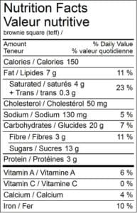 Brownie Square Nutritional Values